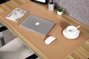 Multifunzionale Pad per Scrivania, 80 * 40cm Antiscivolo Tappetino per Mouse da scrivania in PU Pelle,Impermeabile Tappetino da Gioco per Ufficio/Casa-Cachi + Bianco