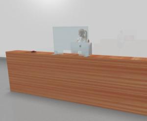 Pannello in plexiglass ideale per l'accoglienza, reception, cassa